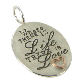 Heather B Moore 14K Yellow Gold & Sterling Silver Life There is Love Charm Pendant