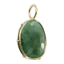 Heather B Moore 14K Yellow Gold Wire Emerald Harriet Charm Pendant