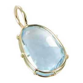 Heather B Moore 14K Yellow Gold Wire Blue Topaz Charm Pendant