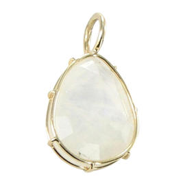Heather B Moore 14K Yellow Gold Wire Moonstone Charm Pendant