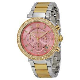 Michael Kors MK6140 Parker Pink Dial Two Tone Chronograph Women's Watch