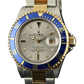 Rolex Submariner 16613 Steel Gold Silver Serti 2006 40mm Watch