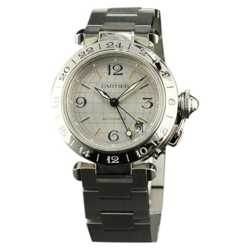 """Image of """"Cartier Pasha GMT W31029M7 Steel Silver Automatic 35mm Watch"""""""