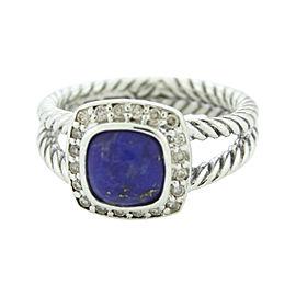 David Yurman Petite Albion 925 Sterling Silver with Lapis Lazuli & Diamond Ring Size 6
