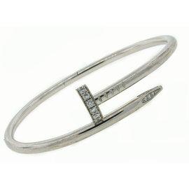 Cartier 18K White Gold Juste Un Clou Diamond Nail Bracelet Size 18