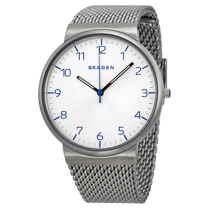 "Image of ""Skagen Skw6163 Ancher Silver Dial Stainless Steel Men's Watch"""