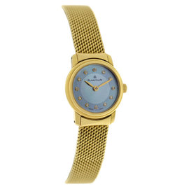 Blancpain Ladybird 18K Yellow Gold Blue Mother Of Pearl and Diamond Mechanical Watch