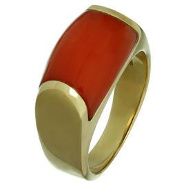 Bulgari 18K Yellow Gold Natural Oxblood Coral Ring