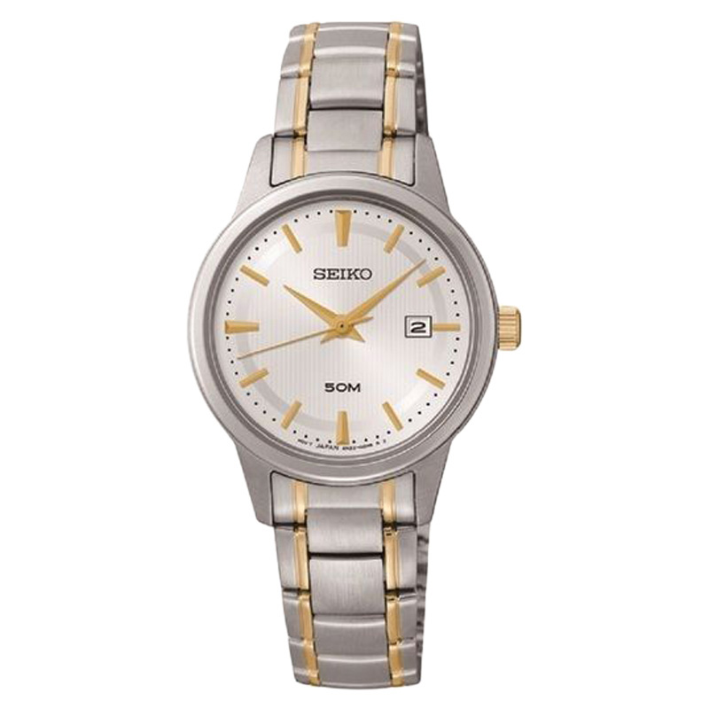 "Image of ""Seiko Sur843 Three-Hand Silver Gold-Tone Stainless Steel Womens Watch"""
