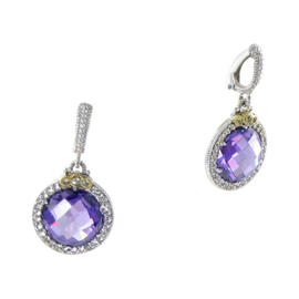 Judith Ripka 925 Sterling Silver 18K Yellow Gold Melange Purple, White Sapphires Earrings