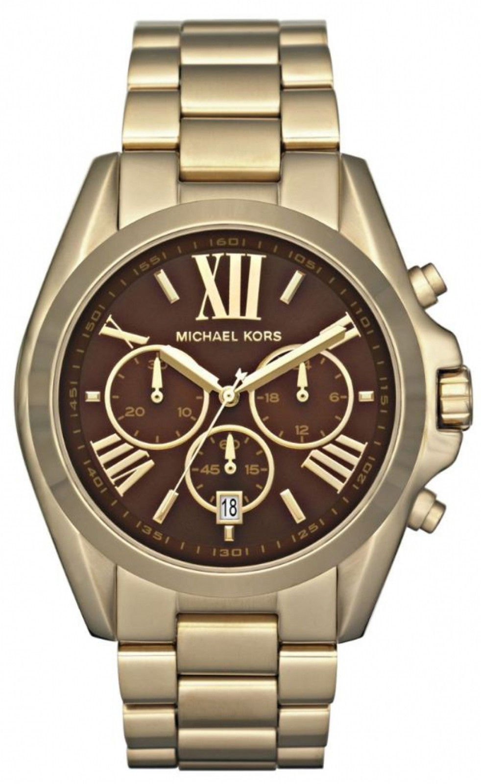 "Image of ""Michael Kors Mk5502 Brown Dial Gold Tone Stainless Chronograph Womens"""