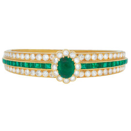 Van Cleef & Arpels 18K Yellow Gold Emerald Diamond Bangle Bracelet