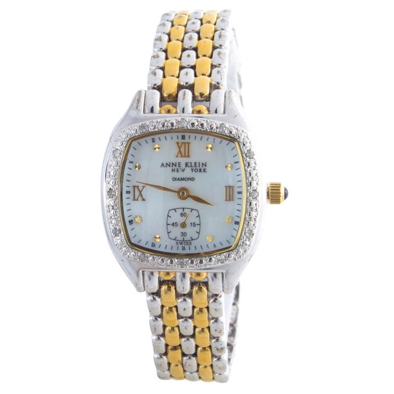 """Image of """"Anne Klein Diamond Bezel Accented Two-Tone Stainless Steel Mother Of"""""""