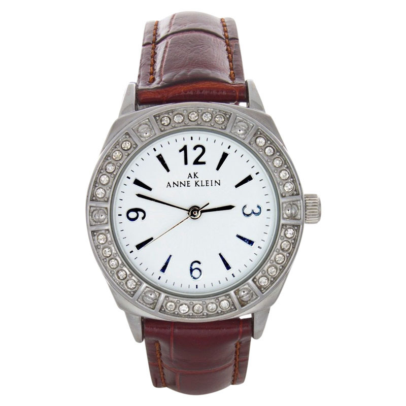 """Image of """"Anne Klein 10-9639 Stainless Steel & Leather 39mm Watch"""""""