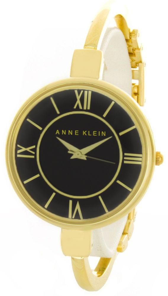 """Image of """"Anne Klein Ak/1750Bkgb Black Dial Gold Tone Metal Bangle Bracelet"""""""