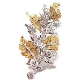 Buccellati 18k Yellow Gold 33 Diamonds Leaf Brooch