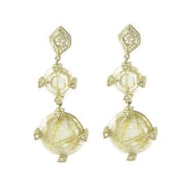 Leslie Greene 18K Yellow Gold Rudilated Quartz & Diamond Drop Earrings
