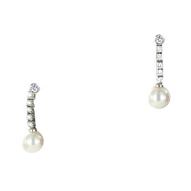 Mikimoto 18K White Gold Akoya Pearls & 0.34ct Diamond Earrings