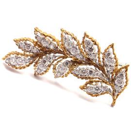 Buccellati Mario 18K Yellow Gold & 1.50ct Diamond Leaf Pin Brooch