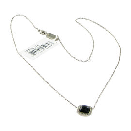 Ippolita 925 Sterling Silver Stella 0.11ct Diamond Square Black Onyx Necklace