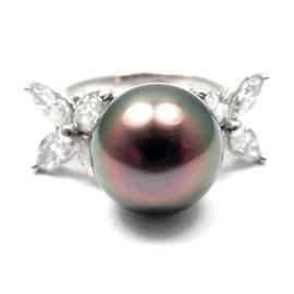 Tiffany & Co. Victoria Platinum Diamond Tahitian Pearl Ring