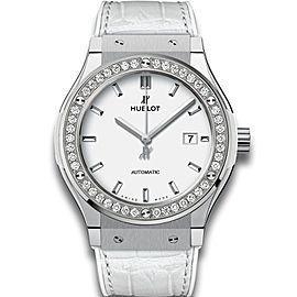 Hublot Classic Fusion 581.ne.2010.lr.1204 Stainless Steel Quartz 33mm Diamonds Watch