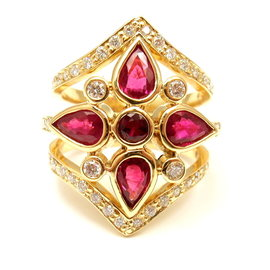 Temple St Clair 18k Yellow Gold Diamond Ruby Persia Ring Size 6