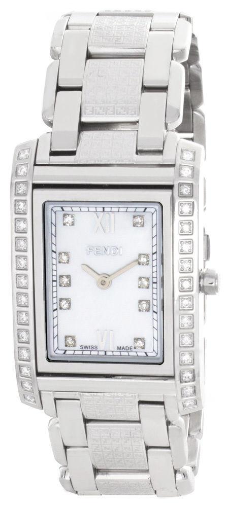 "Image of ""Fendi 001-7600M-323 Pearl Dial Stainless Steel Bracelet Diamond Womens"""