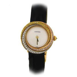 Cartier Trinity 2357 18K Yellow Gold Leather & Diamond 27mm Watch