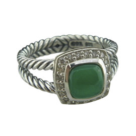 David Yurman 925 Sterling Silver Petite Albion with Green Onyx and Diamonds Ring Size 6.5