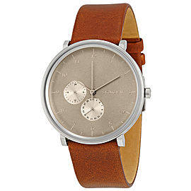 Skagen SKW6168 Hald Grey Dial With Brown Leather Strap Mens Watch