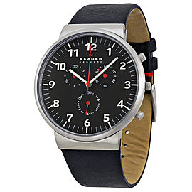 Skagen SKW6100 Ancher Black Dial Black Leather Strap Chronograph Mens Watch