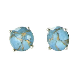 Ippolita Rock Candy Sterling Silver Bronze Turquoise and Quartz Stud Earrings