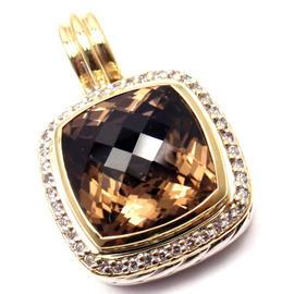 David Yurman Sterling Silver and 18k Yellow Gold Smoky Topaz and 0.30 Ct Diamond Pendant