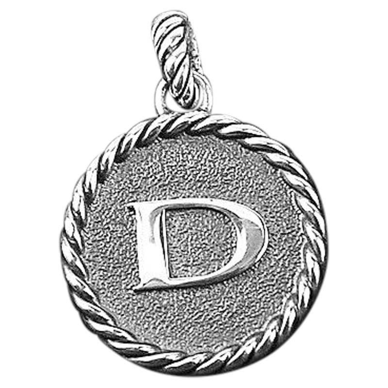 """Image of """"David Yurman 925 Sterling Silver Initial D Round Pendant"""""""