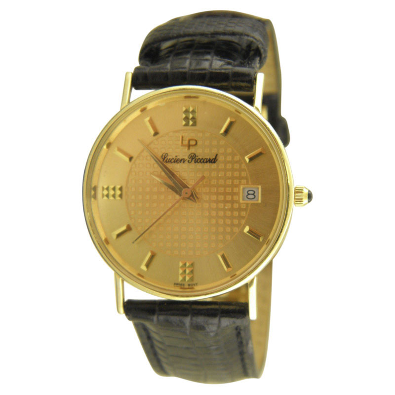 "Image of ""Lucien Piccard 24762 14K Yellow Gold & Leather Quartz 30mm Mens Watch"""