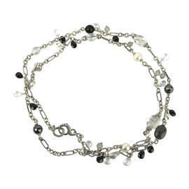 David Yurman Cable Sterling Silver Briola Pearls, Onyx and Hematite Necklace
