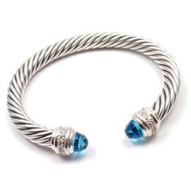 David Yurman Cable Sterling Silver Blue Topaz Diamond Cuff Bracelet
