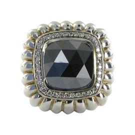John Hardy 925 Sterling Silver Hematite & 0.36cts Diamond Ring Size 7