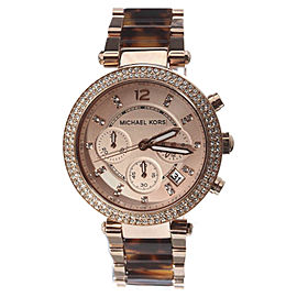 Michael Kors MK5538 Chronograph Parker Rose Gold-tone Tortoise Acrylic 40mm Womens Watch