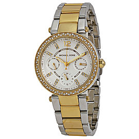 Michael Kors MK6055 Mini Parker White Dial Two Tone Stainless 33mm Womens Watch