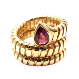 Bulgari Tubogas 18K Yellow Gold Ruby Coil Snake Band Ring Size 5-6