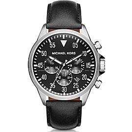 Michael Kors MK8442 Gage Chronograph Black Dial Black Leather 45mm Mens Watch