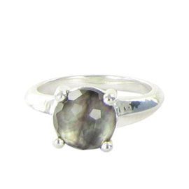 Ippolita Rock Candy Sterling Silver Single Quartz Black Mother of Pearl Doublet Ring Size 7
