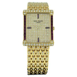 Patek Philippe 18k Yellow Gold Diamond and Ruby Vintage 24mm x 30mm Watch