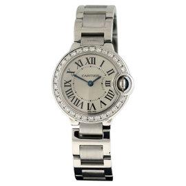 Cartier Ballon Bleu 18K White Gold Diamond 28mm Watch
