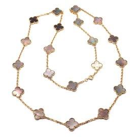 Van Cleef & Arpels Alhambra 18k Yellow Gold Grey Mother of Pearl Vintage Necklace