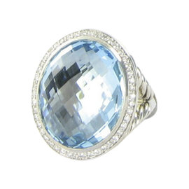 David Yurman Sterling Silver Blue Topaz and 0.39 Ct Diamond Signature Oval Ring 7