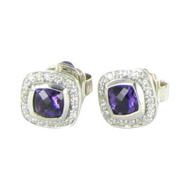David Yurman Color Classic Sterling Silver 0.21Ct Diamond and Amethyst Stud Earrings