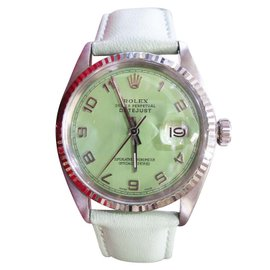 Rolex Oyster Perpetual Datejust Steel & White Gold Green Dial Vintage 36mm Mens Watch